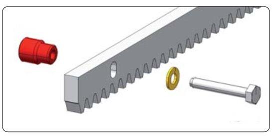Stahlzahnstange 5 x 1m, verzinkt 30x12 Modul 4 mit Montagematerial schraubbar